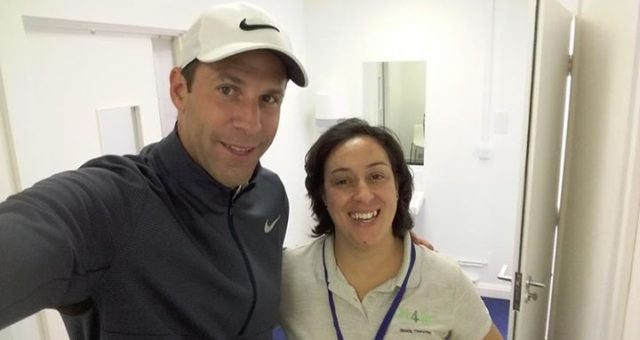Helping Greg Rusedski  play golf at Dukes Meadows in Chiswick today at the Leuka…