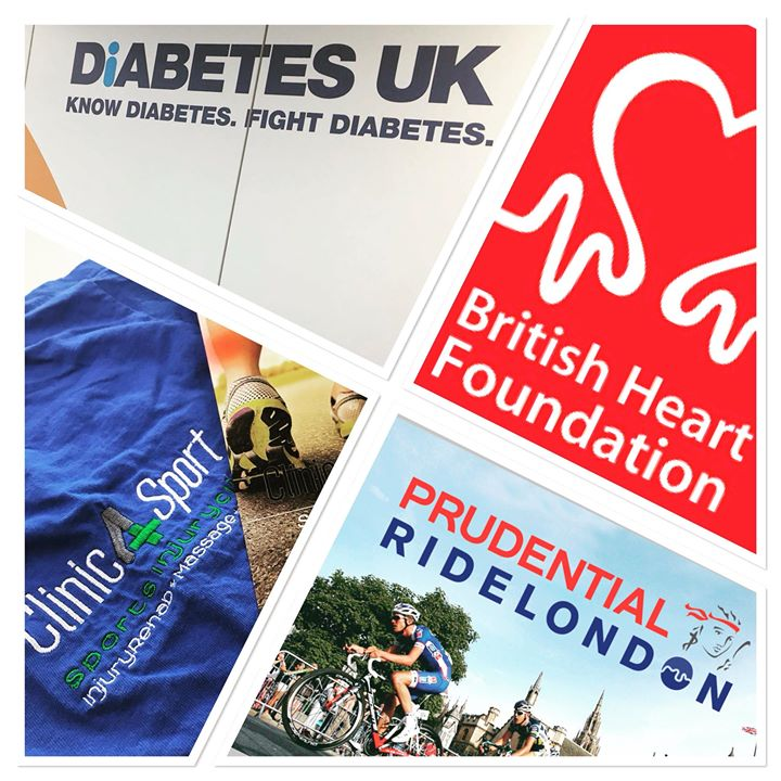Clinic4Sport working together with Diabetes UK, British Heart Foundation and Prudential Ride