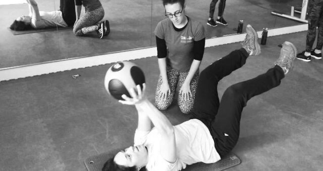 Check out our therapist Joely  training the boss! Working on core control and st…