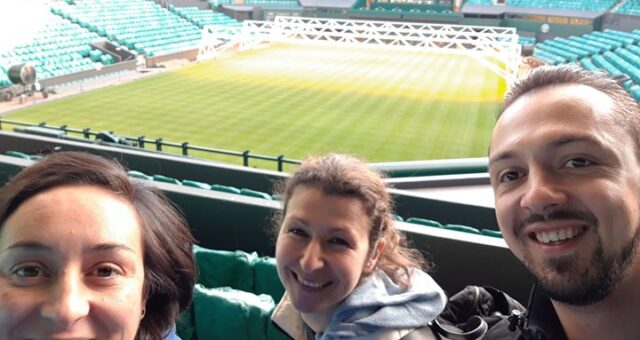 Team at Wimbledon today trying new gym equipment & keeping an eye on Centre Cour…