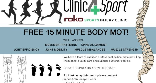 @ClinicforSport offering free 15 min MOT body assessments. Simply get in touch a…