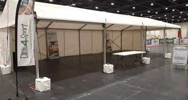 The calm before the stor….This is our treatment tent set up for The London Tri…
